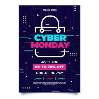 Modèle d'affiche créatif cyber lundi avec offre spéciale