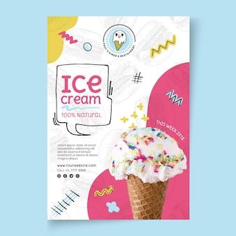 Modèle d'affiche de crème glacée alimentaire américaine