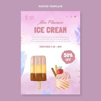 Modèle d'affiche de crème glacée aquarelle