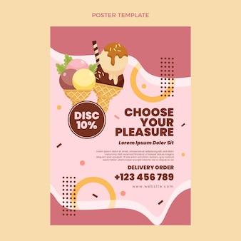 Modèle d'affiche de crème glacée design plat