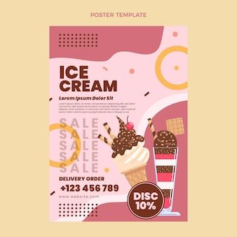 Modèle d'affiche de crème glacée plate