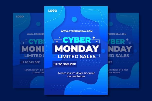 Modèle d'affiche dégradé cyber lundi dégradé
