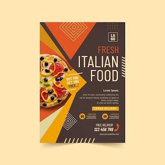 Modèle d'affiche de délicieuse cuisine italienne