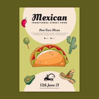 Modèle d'affiche de délicieuse cuisine mexicaine