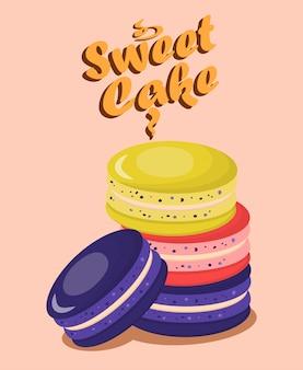Modèle d'affiche de délicieux macarons