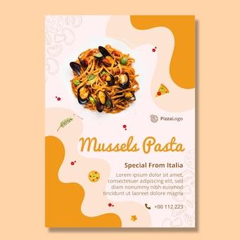 Modèle d'affiche de délicieux plats italiens