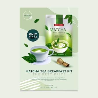 Modèle d'affiche de délicieux thé matcha