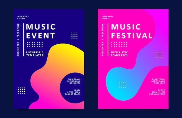 Modèle d'affiche ou de dépliant d'événement de musique avec une forme liquide colorée