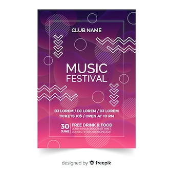 Modèle d'affiche ou de dépliant de festival de musique sur un design moderne abstrait