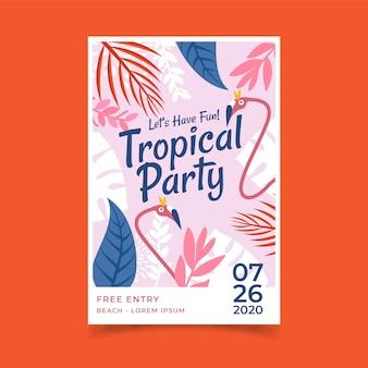 Modèle d'affiche avec un design de fête tropicale