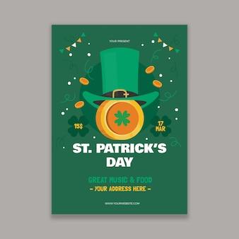 Modèle d'affiche design plat st patricks day