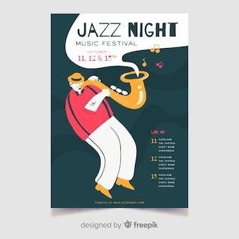 Modèle d'affiche dessiné à la main nuit jazz musique