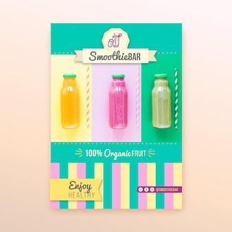 Modèle d'affiche detox organic smoothie bar