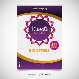 Modèle d'affiche diwali design plat