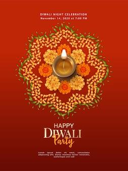 Modèle d'affiche diwali avec lampe diya