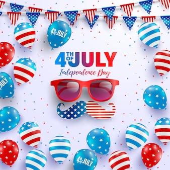 Modèle d'affiche du 4 juillet célébration de la fête de l'indépendance des états-unis avec le drapeau américain de ballons