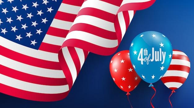 Modèle d'affiche du 4 juillet célébration de la fête de l'indépendance des états-unis avec le drapeau américain de ballons.