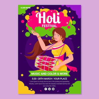 Modèle d'affiche du festival holi