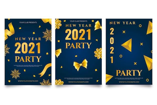 Modèle d'affiche du nouvel an 2021 doré et bleu foncé