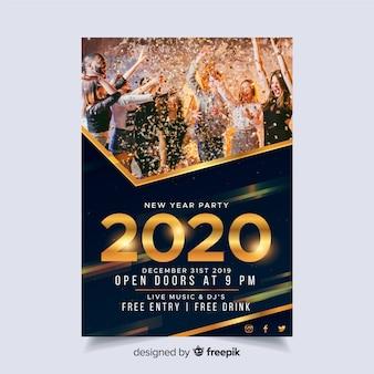 Modèle affiche du parti nouvel an 2020 avec image
