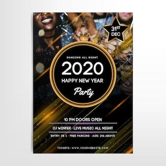 Modèle affiche du parti nouvel an 2020 avec photo