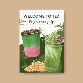 Modèle d'affiche avec du thé au lait à bulles