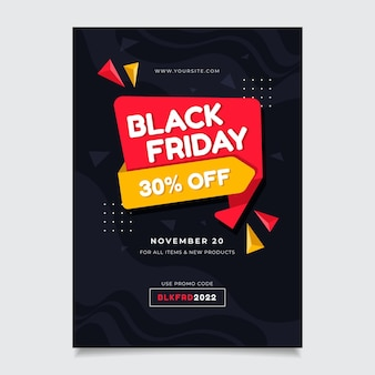 Modèle d'affiche du vendredi noir avec offre