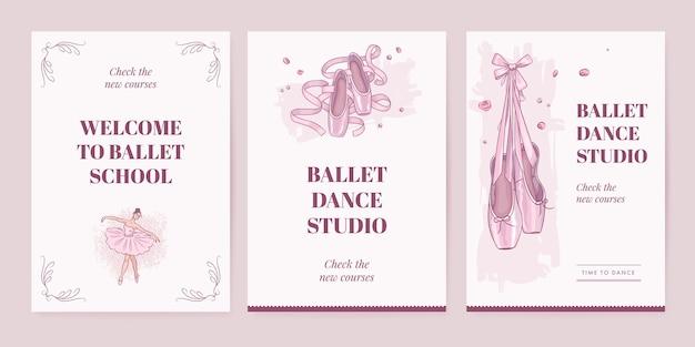 Modèle d'affiche d'école de ballet