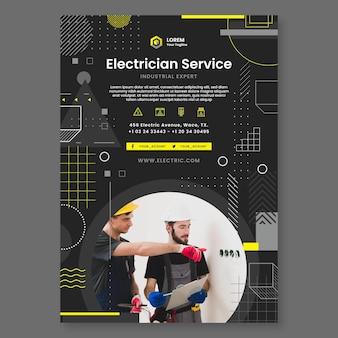 Modèle d'affiche d'électricien sombre