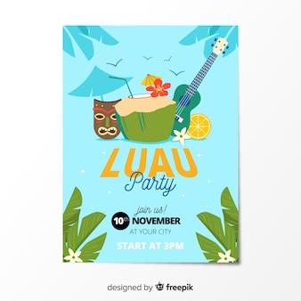 Modèle d'affiche d'éléments de fête luau