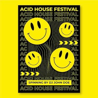 Modèle d'affiche emoji acide design plat