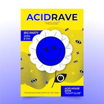 Modèle d'affiche emoji acide plat illustré