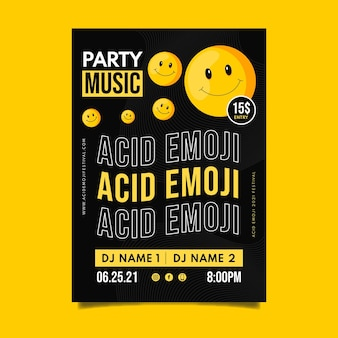 Modèle d'affiche emoji acide