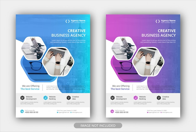 Modèle d'affiche d'entreprise flyer avec dégradé de couleur.