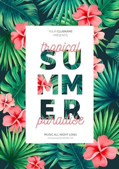 Modèle d'affiche été coloré avec des fleurs tropicales