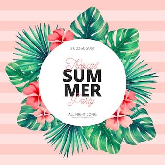Modèle d'affiche de l'été tropical