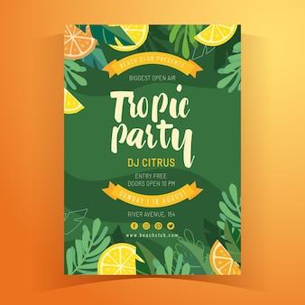 Modèle d'affiche d'été tropical