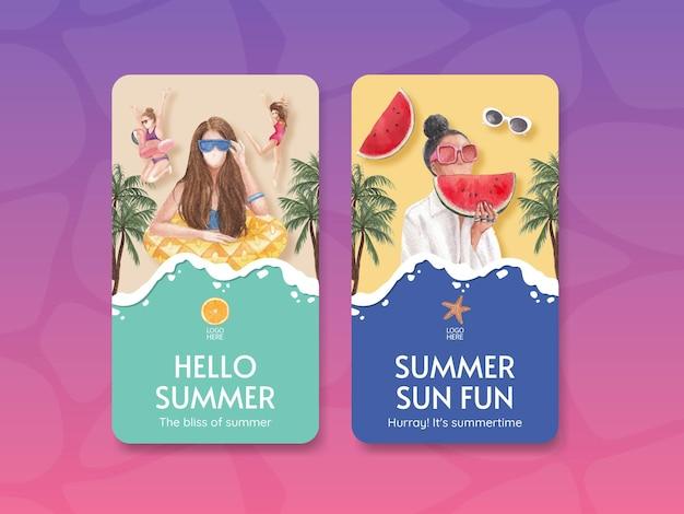 Modèle d'affiche d'été avec des vibrations estivales