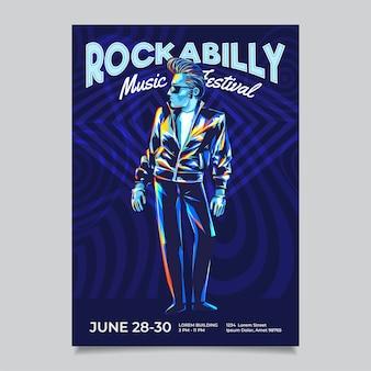 Modèle d'affiche d'événement de festival de musique rock n roll rockabilly. caractère cool avec une coiffure pompadour et une veste en cuir.