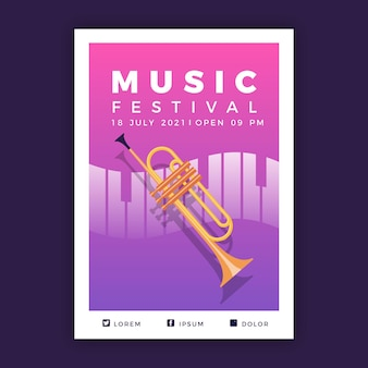 Modèle d'affiche événement musical illustré en 2021