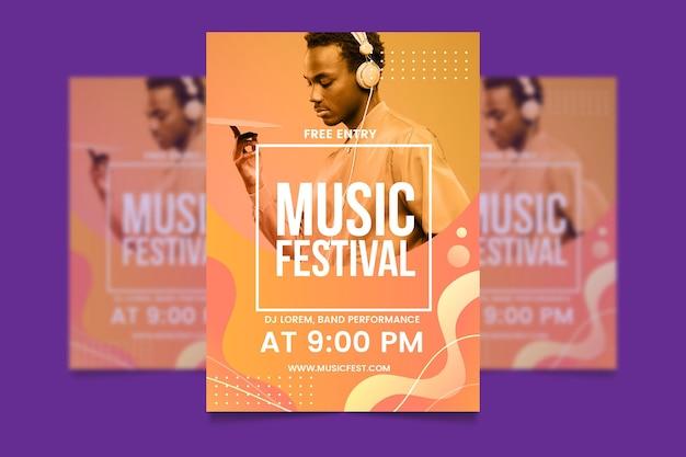 Modèle d'affiche d'événement musical avec image