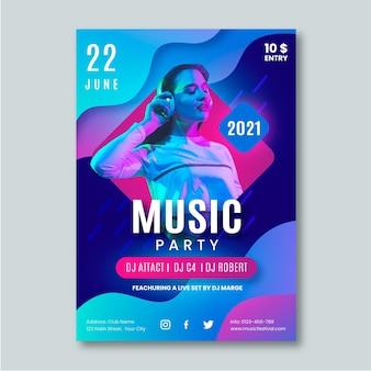 Modèle d'affiche d'événement musical pour 2021