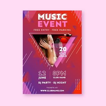 Modèle d'affiche d'événement de musique d'enregistrement femme