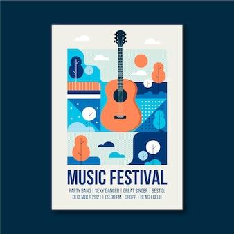 Modèle d'affiche d'événement de musique illustrée à la guitare