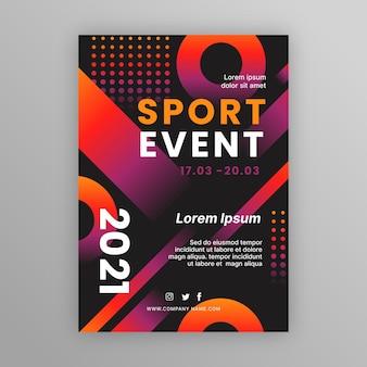 Modèle d'affiche d'événement sportif en pointillé