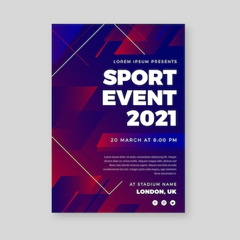 Modèle d'affiche d'événement sportif rouge et bleu