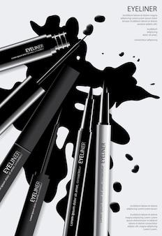 Modèle d'affiche eyeliner cosmétique