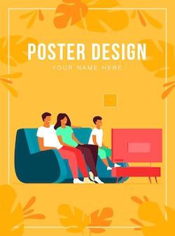 Modèle d'affiche de famille heureuse regardant la télévision ensemble
