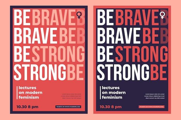 Modèle d'affiche de féminisme avec photo
