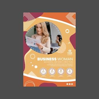 Modèle d'affiche de femme d'affaires avec photo